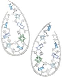 Adriana Orsini - Azure Crystal Wrap Hook Earrings - Lyst