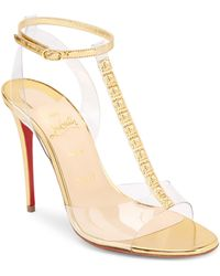 f0694e5c24ea Christian Louboutin Patinana Strass Red Sole Sandal in Black - Lyst
