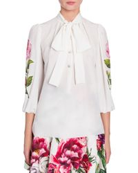 Dolce & Gabbana - Tie Neck Floral Applique Silk Blouse - Lyst