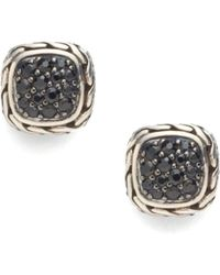 John Hardy - Classic Chain Black Sapphire & Sterling Silver Small Square Earrings - Lyst