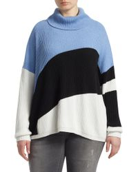 Marina Rinaldi - Knit Color-block Funnelneck Sweater - Lyst