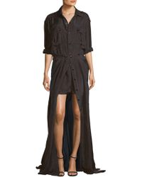 Faith Connexion - Silk Button-front Romper - Lyst