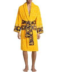 063dd17d20 Versace - Men s Logo Toweling Baroque Bathrobe - Black - Size Medium - Lyst