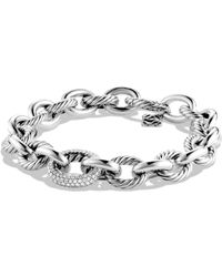 David Yurman - Women's Oval Large Link Bracelet With Diamonds - Silver - Size M - Lyst