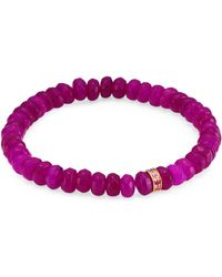 Sydney Evan - Sapphire, Purple Jade And 14k Gold Rainbow Rondelle Berry Beaded Bracelet - Lyst