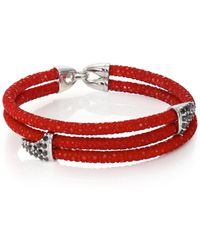 Stinghd - Black Diamond, Silver & Stingray Shark Fin Wrap Bracelet - Lyst