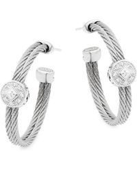 Alor - 18k White Gold, Stainless Steel & Diamond Hoop Earrings - Lyst