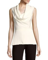 Carolina Herrera - Solid Cowlneck Silk-blend Top - Lyst