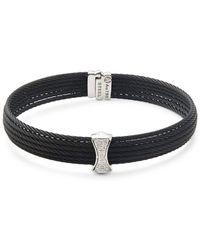 Alor - Diamond, 18k White Gold & Stainless Steel Bangle Bracelet - Lyst