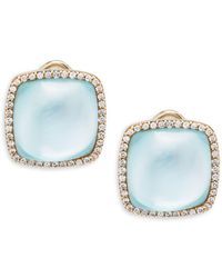 Roberto Coin - Mother-of-pearl, Diamond, Blue Topaz And 18k Gold Square Stud Earrings - Lyst