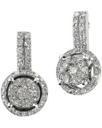 Effy - Diamond And 14k White Gold Drop Earrings, 0.54 Tcw - Lyst