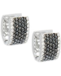 Effy - Diamond & 14k White Gold Solid Fill Hoop Earrings - Lyst
