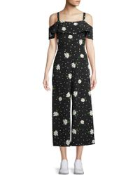 Karl Lagerfeld - Cold-shoulder Cropped Jumpsuit - Lyst