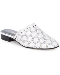 lyst diane von furstenberg manning leather block heel mules in natural Anne Klein Sport Flat Shoes diane von furstenberg leonora embroidered leather mules lyst