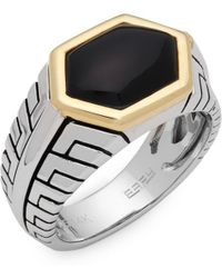 Effy - Onyx, Sterling Silver And 14k Yellow Gold Ring - Lyst