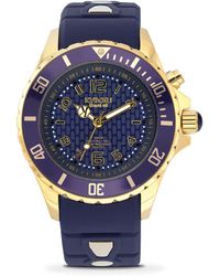 Kyboe - Dark Blue Silicone & Goldtone Stainless Steel Strap Watch/48mm - Lyst