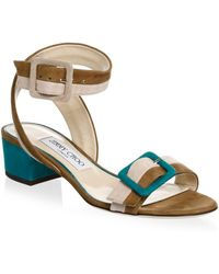 Jimmy Choo - Patchwork Suede Sandals - Lyst
