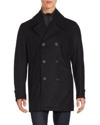 Andrew Marc - Long Sleeve Wool Peacoat - Lyst