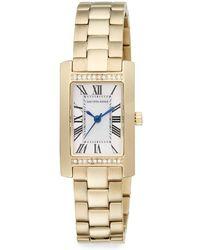 Saks Fifth Avenue - Goldtone Stainless Steel Pavé Crystal Bezel Rectangular Watch - Lyst