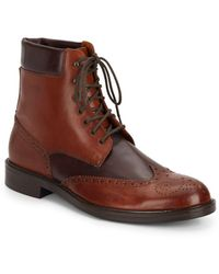 Massimo Matteo - Two-tone Leather Wingtip Boots - Lyst