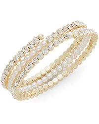Cara - Glass Stone & Pearl Coil Bracelet/goldtone - Lyst