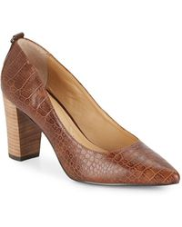 Ellen Tracy - Plush Embossed Leather Point-toe Court Shoes - Lyst