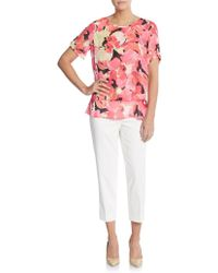 Chaus New York | Floral Print Double Layered Top | Lyst