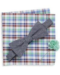 Original Penguin - Brick Bow Tie, Gingham Flower Lapel Pin & Plaid Pocket Square Gift Set - Lyst