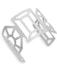Punch - Geometric Cutout Cuff Bracelet/silvertone - Lyst
