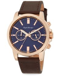 English Laundry - Rose Goldtone Stainless Steel & Brown Leather Strap Chronograph Watch - Lyst