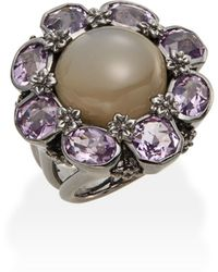 Stephen Dweck - Toledo Grey Moonstone, Amethyst & Sterling Silver Flower Ring - Lyst