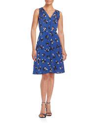 Rebecca Taylor - Floral Printed Sleeveless Silk Dress - Lyst
