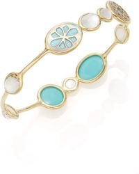 Ippolita - Rock Candy Clear Quartz Mother-of-pearl Doublet, Turquoise, Brown Shell & 18k Yellow Gold Bangle Bracelet - Lyst