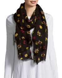 Betsey Johnson - Graphic Print Fringe Trim Scarf - Lyst