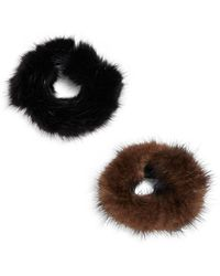 Surell - Mink Fur Hair Accessories - Set Of 2 - Lyst