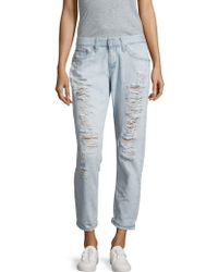 AG Jeans - Nikki Distressed Relaxed Skinny Crop Jeans - Lyst