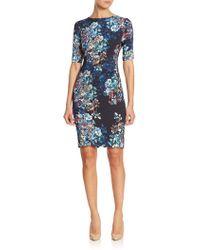 L.K.Bennett - Elbow Sleeve Floral-print Dress - Lyst