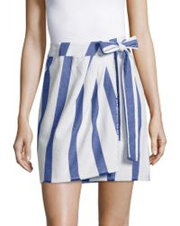 Lavia18 - Striped Wrap Cotton Skirt - Lyst