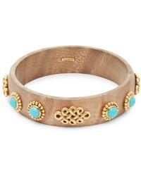 Estate Fine Jewelry - Oakgem Vintage Turquoise & 18k Yellow Gold Bangle Bracelet - Lyst