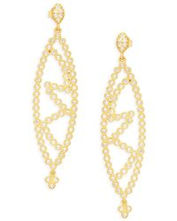 Freida Rothman - Crystal And Yellow Goldtone Marquise Cutout Drop Earrings - Lyst