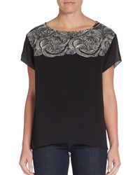 037464a8ba616d Marchesa Voyage - Embroidered Silk-Chiffon Top - Lyst