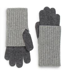 Saks Fifth Avenue Black - Ribbed Knit Gloves - Lyst