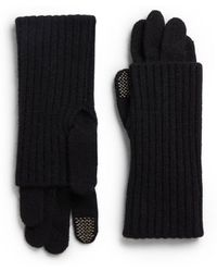 Saks Fifth Avenue Black - Ribbed Knit Layered-look Gloves - Lyst