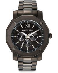 Saks Fifth Avenue - Stainless Steel Gunmetal Multi-function Watch - Lyst