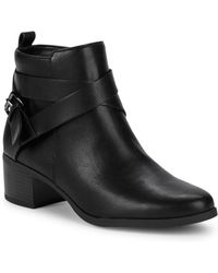 8bb8976ce23 Lyst - Franco Sarto Black Wayra Wedge Ankle Booties in Black