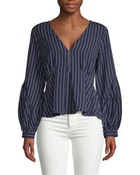 19 Cooper - Pinstriped Puffed-sleeve Top - Lyst