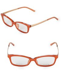 1653450bfe09 Lyst - Gucci 54mm Rectangular Optical Glasses in Metallic