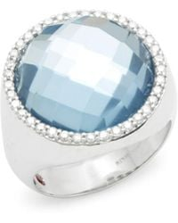 Roberto Coin - Diamond, Blue Topaz, Ruby And 18k White Gold Solitaire Ring - Lyst