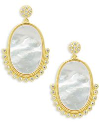 Freida Rothman - Oval Beaded Mother Of Pearl Drop Earrings - Lyst