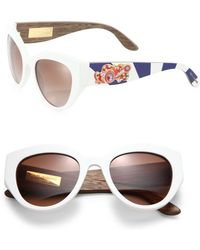 Dolce & Gabbana - Sicilian Carretto 52mm Metal & Wooden Cat's-eye Sunglasses - Lyst